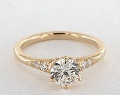 Tapered Pave Engagement Ring | 18K Yellow Gold | James Allen | 17679Y - Mobile