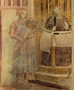 Giotto - parete sinistra - Storie di San Giovanni Battista - 3 Banchetto di Erode con Salomè che presenta la testa del Battista a Erodiade, dettaglio un musicista - pittura a secco - 1318-1322 circa - Cappella Peruzzi - Basilica di Santa Croce - Firenze