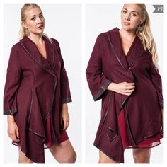 Maroon jacket (XL 1x 2x) Maroon jacket. Materials- 60% cotton/ 40% polyester. NWOT. Brand new without tags. This is a beautifully colored jacket. There is one snap closure in the middle of the jacket and there are pockets on each side. Faux leather trim. Runs slightly small Availability- XL•1x•2x • 3•2•1 PLEASE do not purchase this listing. Price is firm unless bundled. No trades Boutique Jackets & Coats