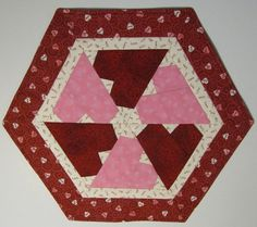Valentine PInk and Red Heart Table Topper by QuiltingGranny, $35.00