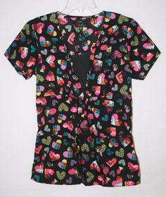 Women's Peaches Black Scrub Top Small Colorful Hearts Style 4475 PTLV  #Peaches Nurses Uniforms