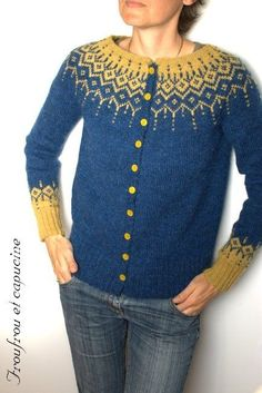 a Winter Fantasy Jacket pattern by DROPS design : Drops 116 pattern using lette lopi. Fair Isle Knitting Patterns, Knit Patterns, How To Purl Knit, Jacket Pattern, Cardigan Pattern, Drops Design, Vintage Sweaters, Hand Knitting, Finger Knitting