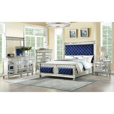 Acme Furniture Varian Blue Velvet and Mirrored Queen Bed - The Home Depot 5 Piece Bedroom Set, Bedroom Sets, Bedroom Decor, Bedroom Furniture, Girls Bedroom, Bedrooms, King Beds, Queen Beds, Acme Furniture