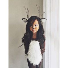 "16 Deer Makeup And Antler Ideas For The Cutest Halloween Costume These ladies have the cutest DIY deer inspired makeup and antlers for Halloween! ""Doe"" you agree? Deer Costume For Kids, Deer Halloween Costumes, Cute Halloween Costumes, Halloween Kostüm, Baby Costumes, Deer Costume Diy, Deer Costume Makeup, Woman Costumes, Mermaid Costumes"