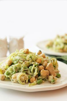 "Chicken and Chickpea Broccoli Noodle Pasta with Spiral Broccoli ""Noodles"" !"