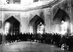 A women's prayer meeting inside the Baha'i House of Worship in Ishqabad