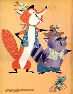 Fox and his friend racoon illustration by Alice and Martin Provensen