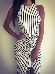 White, Contrast Stripe, Cut Out Back, Twist, Asymmetric, Maxi Dress