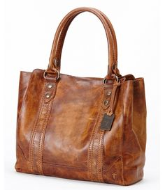 Cognac:Frye Melissa Washed Leather Tote