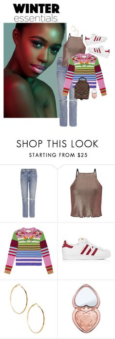 """""""thirteen"""" by elndz ❤ liked on Polyvore featuring GRLFRND, Miss Selfridge, Gucci, adidas, GUESS by Marciano, Too Faced Cosmetics and Louis Vuitton"""