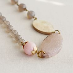 Agate Pink Opal Mother of Pearl Beaded Necklace Brass by TheGoosle