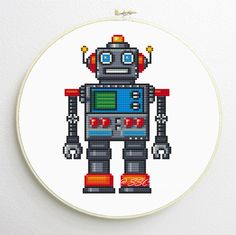 Counted Cross Stitch Pattern cute robot PDF instant download by SimpleSmart on Etsy https://www.etsy.com/listing/151155283/counted-cross-stitch-pattern-cute-robot