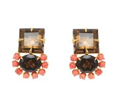 Earrings with Smoky Topaz and Coral