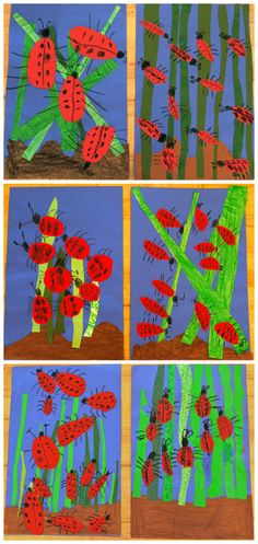 texture garden with ladybugs. from the colors of my day blog.
