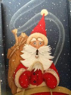 Santa on runaway sleigh - painted by Julie Slater