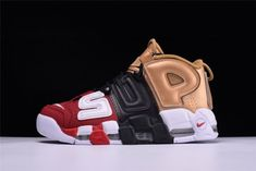 694a9abbe4 Mens Nike Air More Uptempo Red Black White Gold 902290 002 Running Shoes