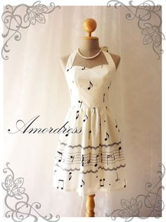 Music Lover  White Dress Music Note Summer Retro by Amordress,