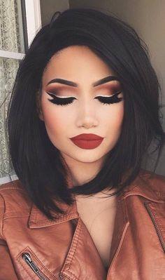 Makeup Looks Party Lip Colors Ideas Makeup Goals, Love Makeup, Makeup Inspo, Makeup Inspiration, Makeup Tips, Makeup Style, Fall Makeup, Makeup Tutorials, Makeup Ideas 2018