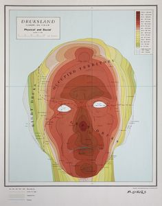 Michael Druks (1940- ), Israeli / Druksland, 1973 ... uncomventional cartographic self-portrait in style of a topographical map, including legend