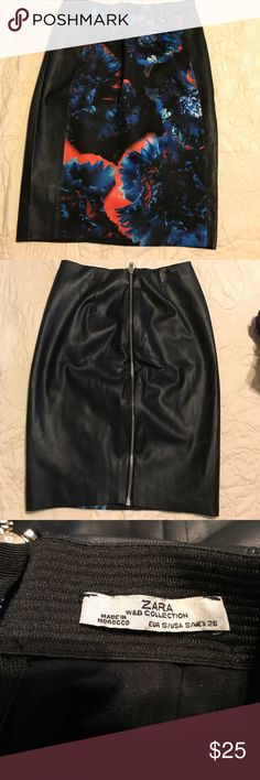 ZARA faux leather skirt Perfect condition! Blue orange black accents. Elastic waistband Zara Skirts