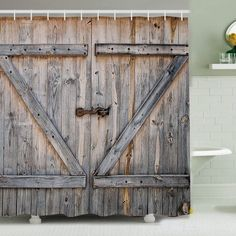 """Country Rustic Barn Wood Shower Curtain Old Wooden Garage Door Polyester Fabric Shower Curtain with 12pcs Hook(72"""" × 72"""" ): Amazon.ca: Home & Kitchen"""