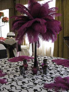 feather wedding table centerpiece