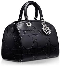DIOR GRANVILLE - Black leather 'Dior Granville' polochon bag