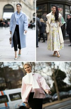 Pastel Coats on the streets of Paris Haute Couture Spring 2014 fashion week