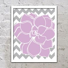 Bold Colorful Dahlia Flower Chevron Purple Lavender Lilac Grey Gray Decor Wall Art Poster Nursery Print Bedroom Bathroom