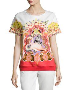 ETRO Short-Sleeve Printed T-Shirt, Orange. #etro #cloth #