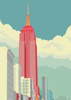 Remko Heemskerk-Empire State Building-Illustration-Posters-See the City-NYC Building Illustration, City Illustration, 5th Avenue New York, New York City, Empire State Building, Wallpaper Paisajes, New York Landmarks, New York Architecture, Poster Online