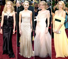 Naomi Watts on the #Oscars red carpets of years past -- 2002: Gucci; 2004: Versace; 2006: Givenchy Haute Couture; 2007: Escada