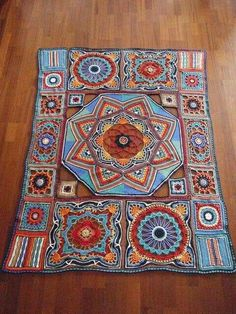 OMG I just love this, the colors are amazing too. A Beautiful Persian Blanket Crochet Mandala Pattern, Crochet Quilt, Crochet Blocks, Crochet Stitches Patterns, Crochet Squares, Crochet Home, Love Crochet, Crochet Granny, Diy Crochet