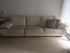 Needs to go ASAP In good used condition bit of wear on one section from previous owner cover nicely with a beautiful throw Extremely comfortable Splits into . Cream Leather Sofa, Free Recycle, Sofas, Couch, Furniture, Home Decor, Couches, Settee, Sofa