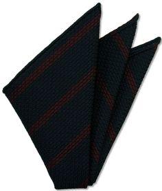Red Stripe On Midnight Blue Grenadine Grossa Pocket Square # 1