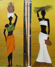Resultado de imagen para pinturas negritas African Artwork, African Art Paintings, Oil Paintings, Afrique Art, African Theme, Afro Art, African American Art, Mural Art, African Beauty