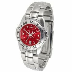 """Wisconsin Badgers NCAA AnoChrome """"Sport"""" Ladies Watch (Metal Band) by SunTime. $63.00. Rotation Bezel/Timer. Calendar Date Function. Scratch Resistant Face. This handsome, eye-catching watch comes with a stainless steel link bracelet. A date calendar function plus a rotating bezel/timer circles the scratch resistant crystal. Sport the bold, colorful, high quality logo with pride. The AnoChrome dial option increases the visual impact of any watch with a stunning radial ref..."""