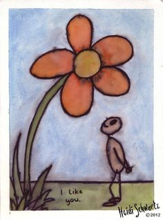 ORIGINAL ART. I Like You: Small painting of a figure gazing lovingly at a giant flower.