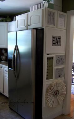 """Love this kitchen """"gallery""""--especially the """"If you can't take the heat -->"""" sign! :)"""