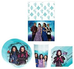 Disney Descendants Birthday Party Supplies Bundle Kit Including Plates, Cups, Napkins and Table cover - 8 Guests * You can find more details by visiting the image link.