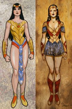Wonder woman designs by J Michael Straczynski Doran–unpublished. Love the one on the right...