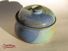 Ceramic Bean Pot  Green and Blue by MudbugCreations on Etsy, $27.00