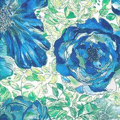 Liberty of London Tana Lawn: Xanthe Rose Aqua (Y)