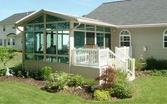 Sunroom Kits, Porch Kits, Sunroom Ideas, Porch Ideas, Diy Porch, Patio Ideas, 4 Season Sunroom, Mobile Home Porch, Mobile Homes