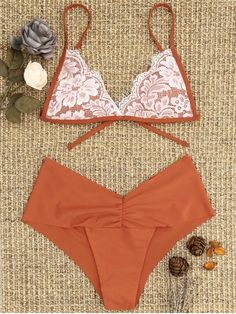 74448b0af4f Shop for Lace Overlay Scrunch Butt Bikini Set BRICK-RED: Bikinis S at ZAFUL