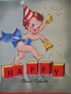 Vintage baby new year card