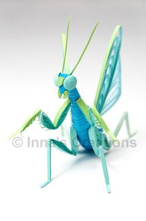 Quilled praying mantis, front view