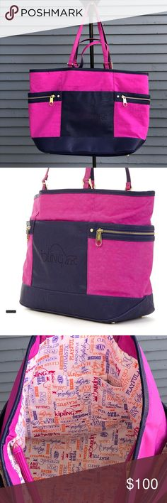 """Kipling- Marcie Large Tote Bag Purple & Blue NWOT With a supremely spacious interior (divided cleanly by a zipped center divider, we might add) this tote can hold it all and keep it organized. Equipped with 2sets of handles, one longer to put on shoulder &one shorter to carry by hand. Size: 9.5"""" x12.75"""" x6.5"""". Crinkle nylon with vegan leather trim Outside: two zip pockets at sides Inside: zip pocket, two slip pockets, pen loop and key clasp, zipped center divider Handle drop for long handles…"""