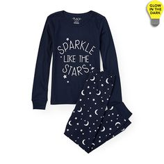 Girls Long Sleeve 'Sparkle Like The Stars' Top And Star Print Pants Glow-In-The-Dark PJ Set | The Children's Place
