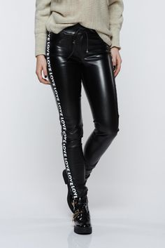84eb97ce4f Ocassion black trousers casual with medium waist from ecological leather,  medium waist, ribbon fastening, tented cut, ecological leather